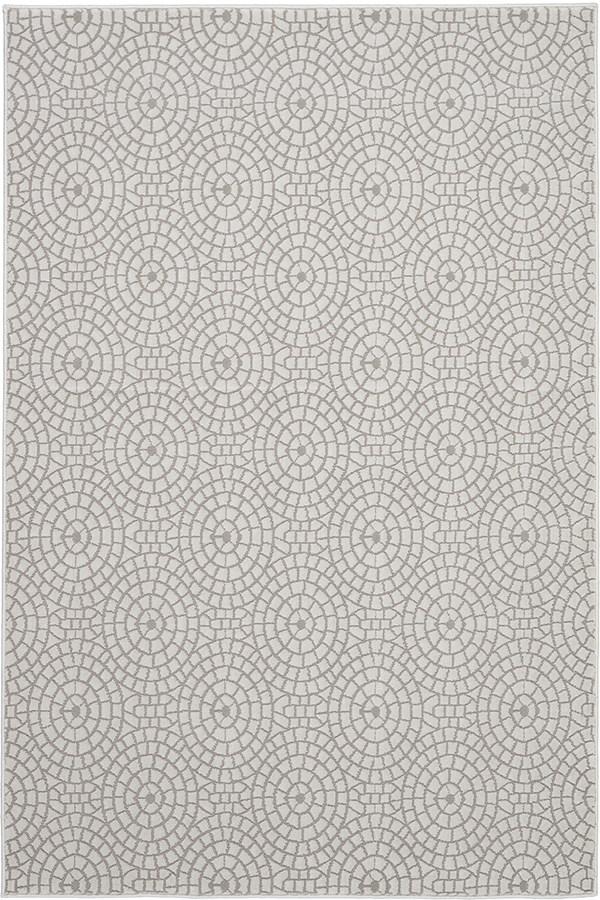 Cream, White Geometric Area Rug