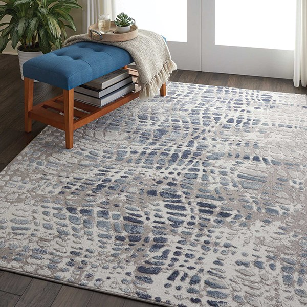 Ivory, Grey Casual Area Rug