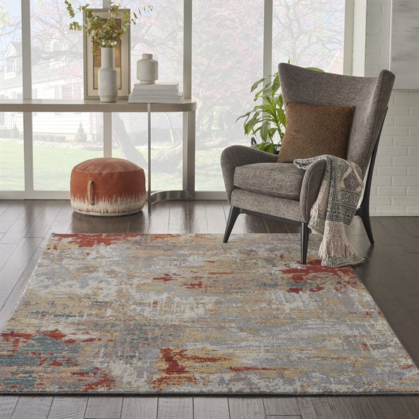 Silver, Grey, Yellow Contemporary / Modern Area Rug