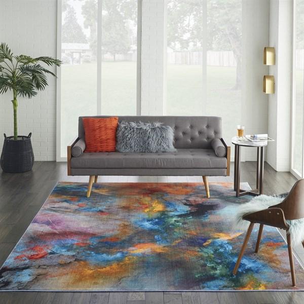 Orange, Blue, Red Contemporary / Modern Area Rug