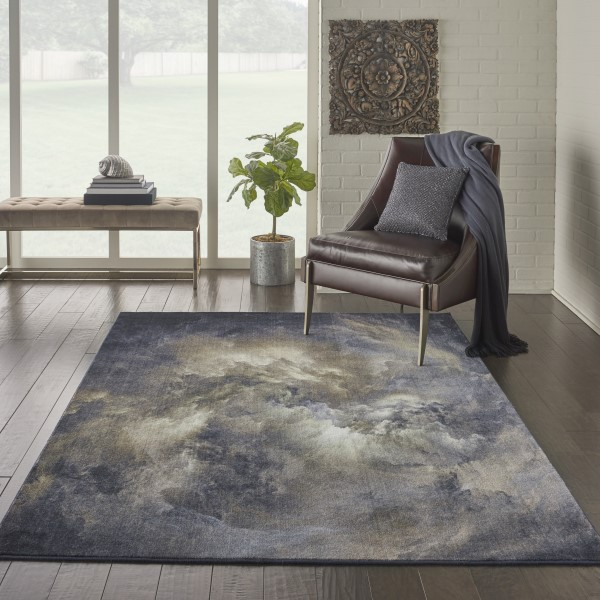 Blue, Grey, Ivory Contemporary / Modern Area Rug