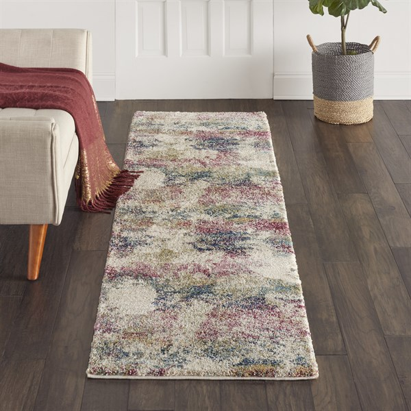 Cream, Pink, Green Abstract Area Rug