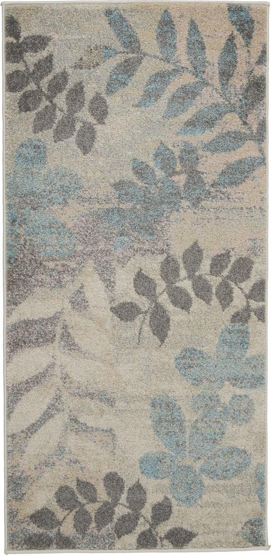 Ivory, Light Blue Floral / Botanical Area Rug