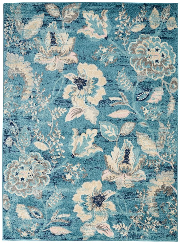 Turquoise  Floral / Botanical Area Rug