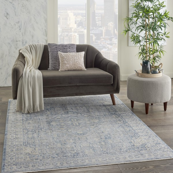 Blue, Ivory Transitional Area Rug