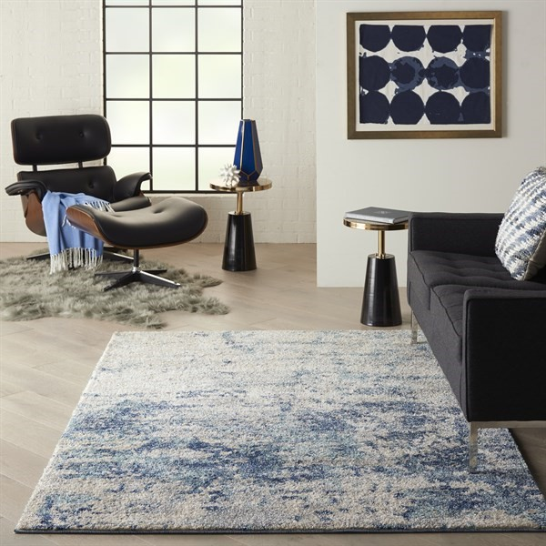 Ivory, Dark Blue Contemporary / Modern Area Rug