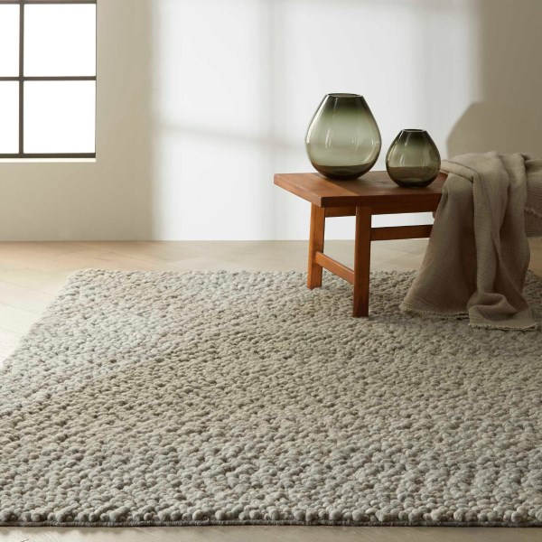 Grey, Ivory Solid Area Rug