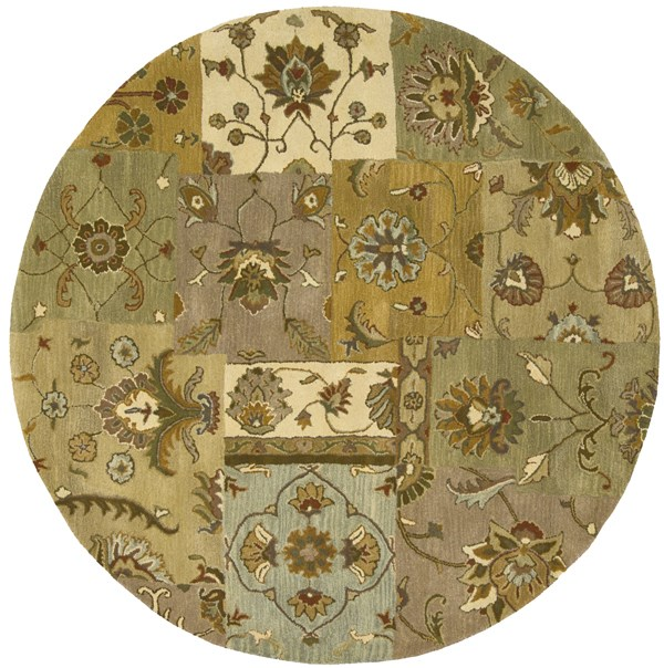 Green, Taupe Transitional Area Rug