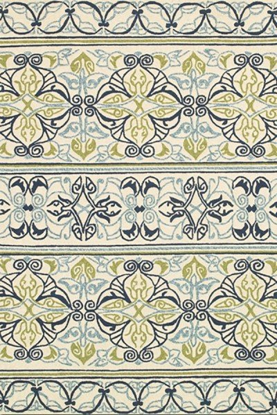 Ivory, Navy Lime (3037-7801) Transitional Area Rug