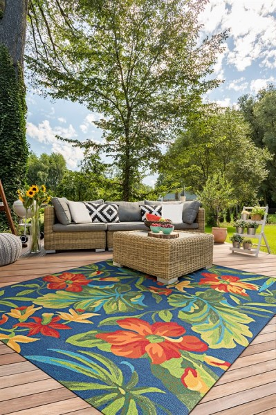 Azure, Forest Green, Red (4886-4285) Outdoor / Indoor Area Rug