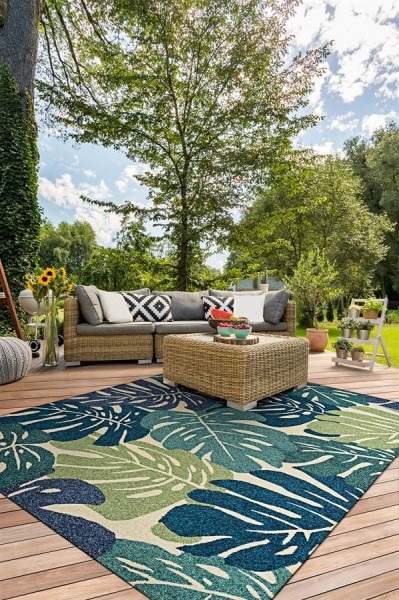 Cream, Blue (3534-1521) Outdoor / Indoor Area Rug