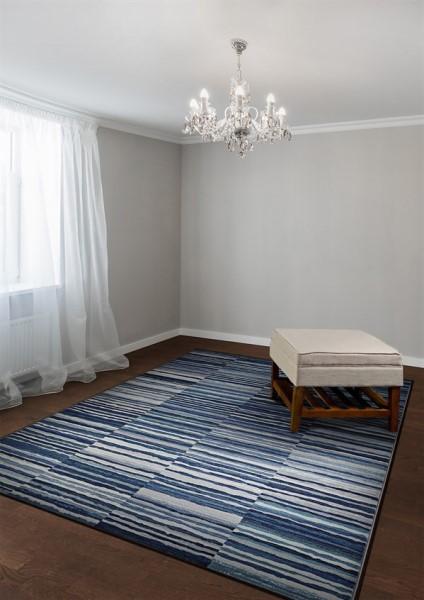 Dark Blue, Blue, Grey, Cream Contemporary / Modern Area Rug