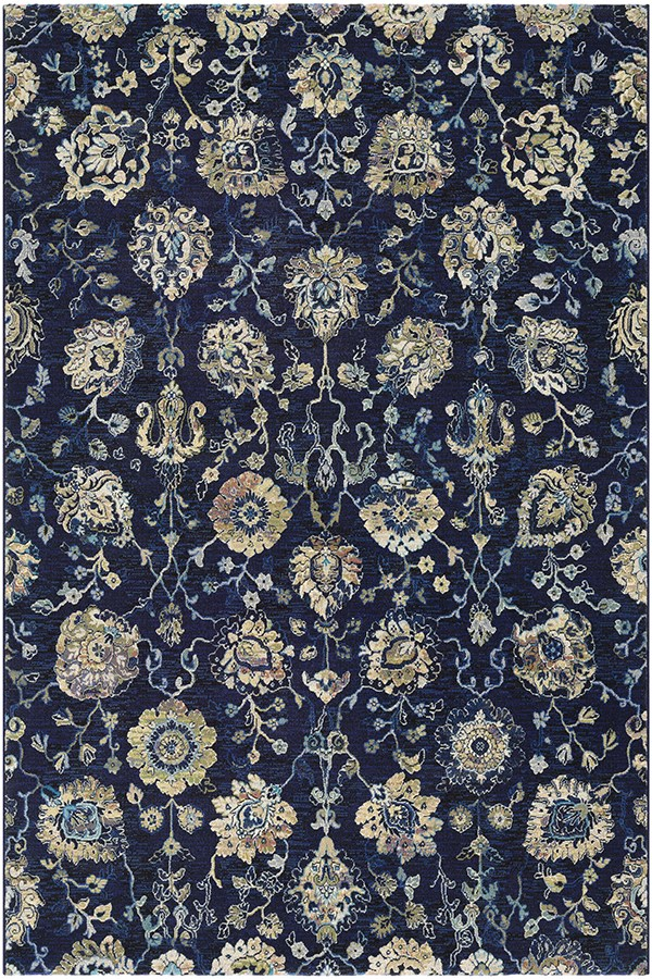 Navy, Cream (6337-5191) Traditional / Oriental Area Rug