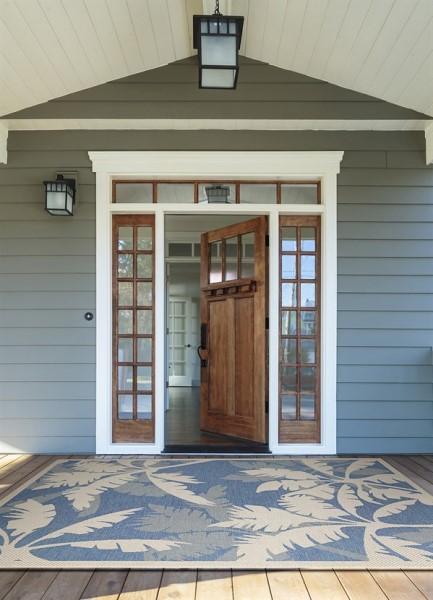 Ivory, Sapphire Outdoor / Indoor Area Rug