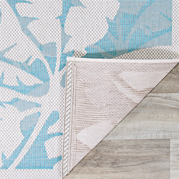 Ivory, Turqouise Outdoor / Indoor Area Rug