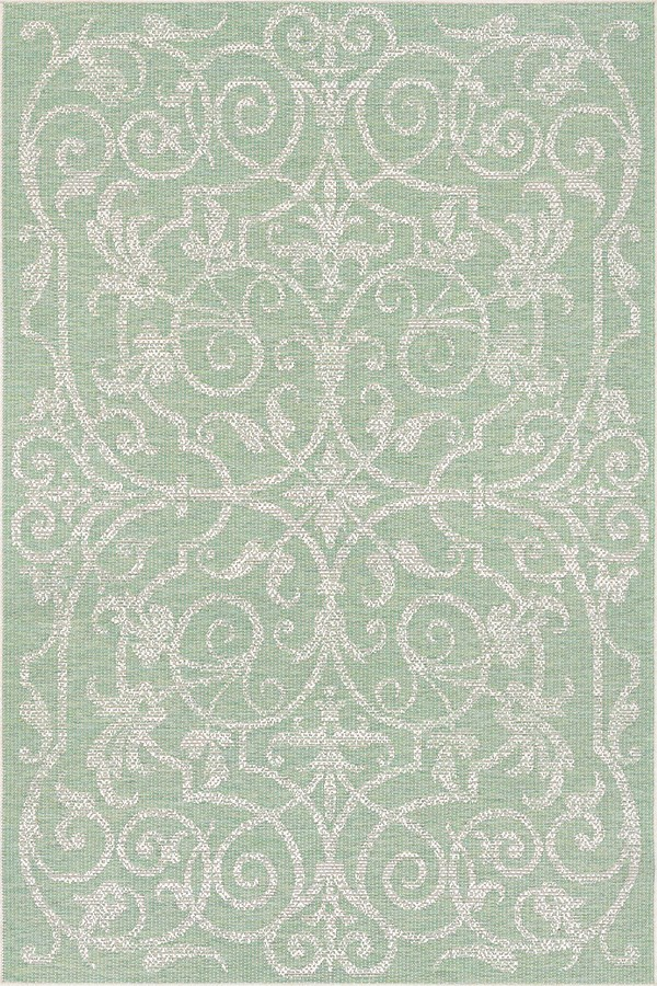 Light Green, Ivory (2106-3136) Outdoor / Indoor Area Rug