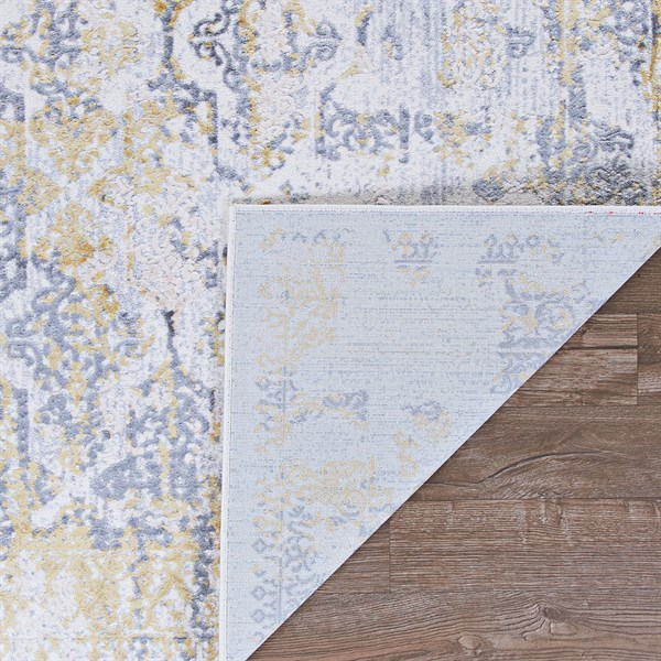 Gold, Silver, Ivory (5179-0747) Vintage / Overdyed Area Rug