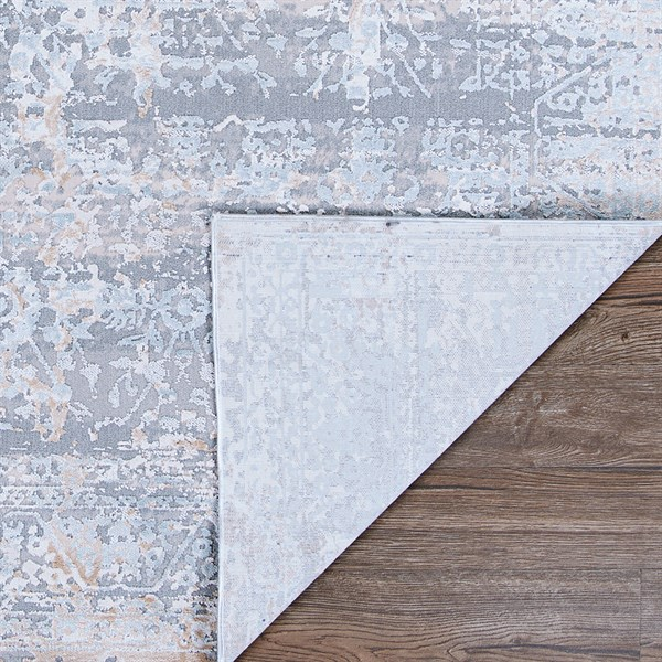 Dark Grey, Light Grey, Beige Abstract Area Rug