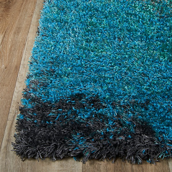Blue, Aqua, Grey, Black Shag Area Rug