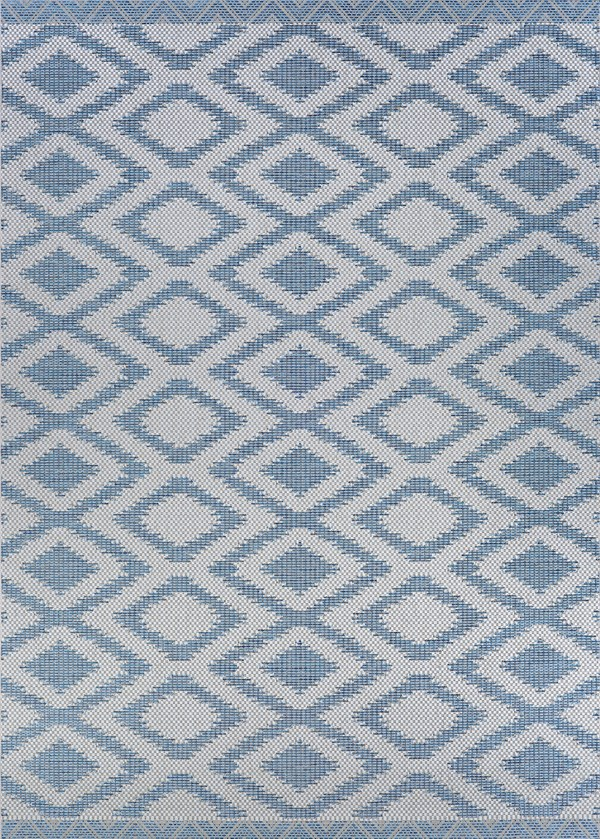 Blue, Light Grey Outdoor / Indoor Area Rug