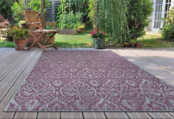 Plum, Ivory, Purple Outdoor / Indoor Area Rug