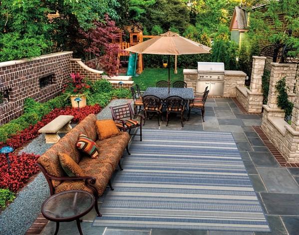 Champagne, Blue (5313-1212) Outdoor / Indoor Area Rug