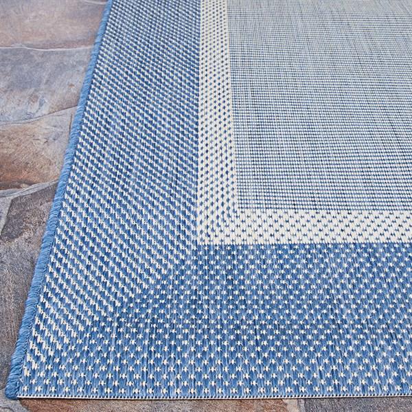 Blue, Champagne (5526-1212) Outdoor / Indoor Area Rug