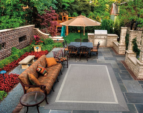 Grey, Champagne (5526-3312) Outdoor / Indoor Area Rug