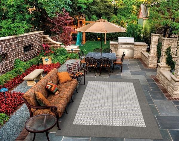 Grey, White (1005-3012) Outdoor / Indoor Area Rug