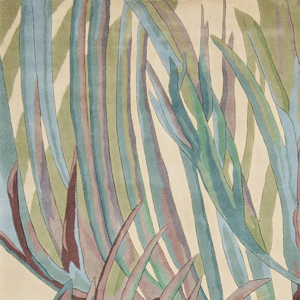 Ivory, Blue, Purple (0789) Floral / Botanical Area Rug