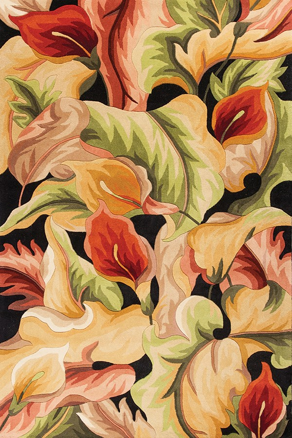 Black (759) Floral / Botanical Area Rug