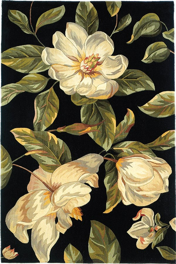 Black (761) Floral / Botanical Area Rug