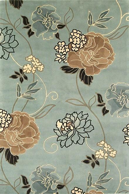 Blue, Beige (765) Floral / Botanical Area Rug