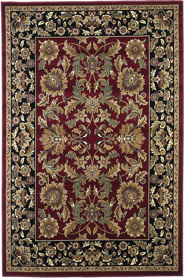 Red, Black (7301) Traditional / Oriental Area Rug