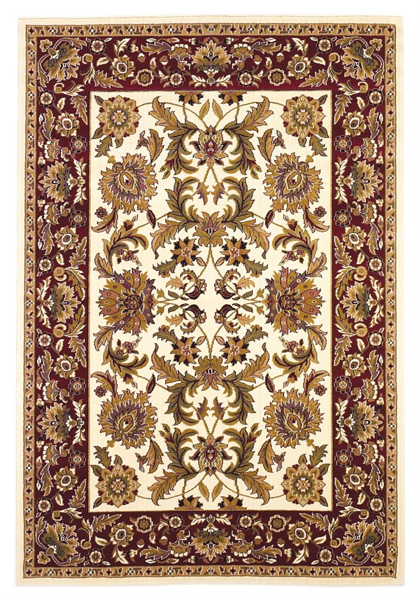 Ivory, Red (7303) Traditional / Oriental Area Rug