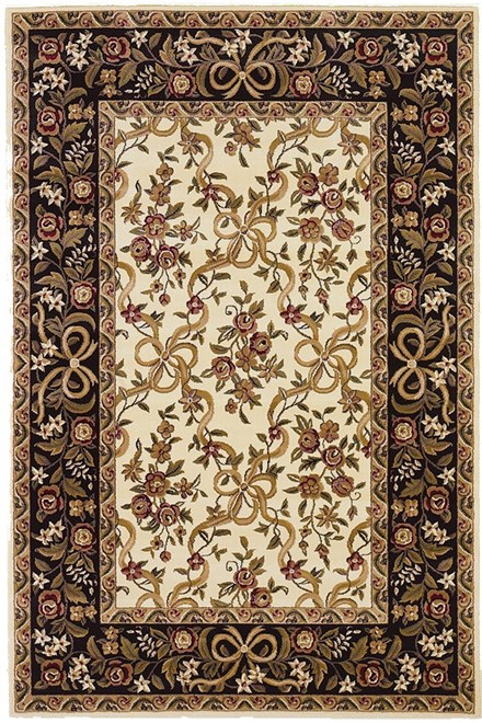 Ivory, Black (7310) Floral / Botanical Area Rug