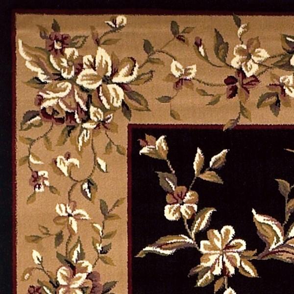 Black, Beige (7336) Floral / Botanical Area Rug