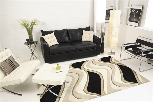 Black, Beige (1071) Contemporary / Modern Area Rug