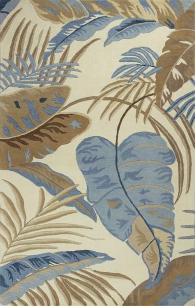 Ivory, Blue (2624) Floral / Botanical Area Rug