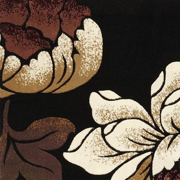 Black (5351) Floral / Botanical Area Rug