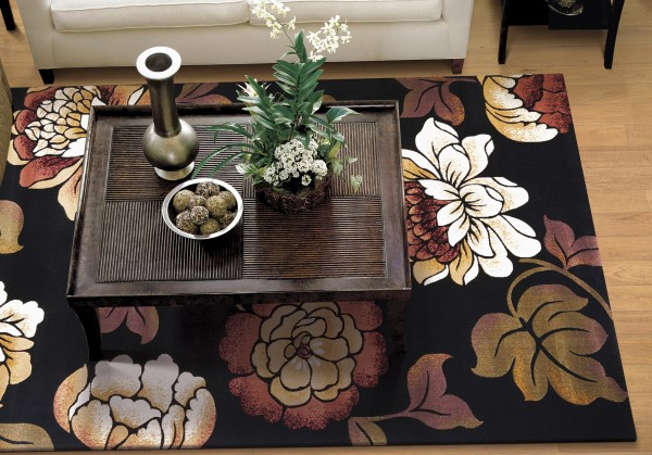Black (5351) Floral / Botanical Area Rug