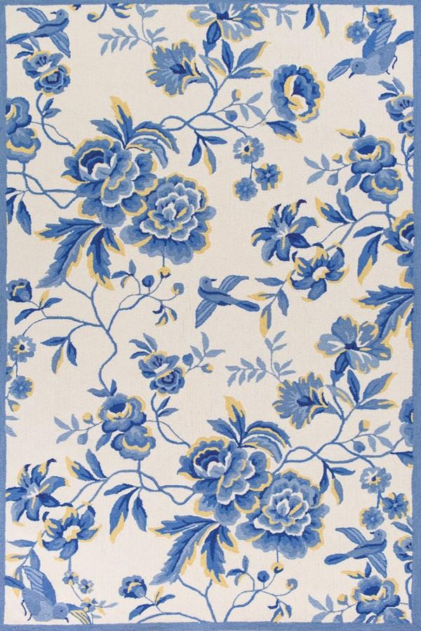 Ivory, Blue (2032) Floral / Botanical Area Rug