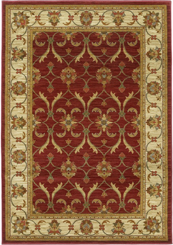 Red, Ivory (5468) Traditional / Oriental Area Rug