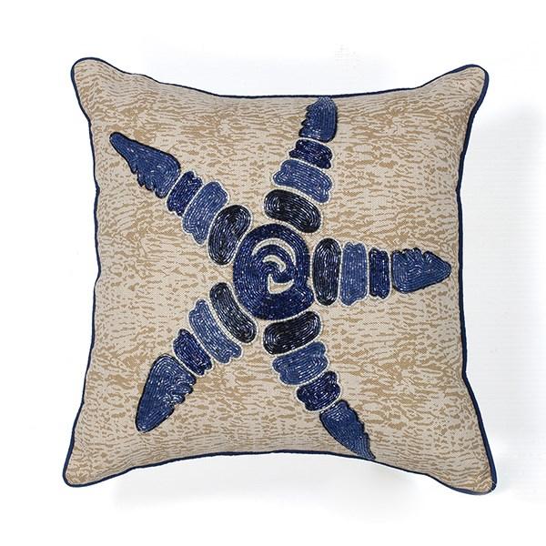 Natural, Blue (L-109) Beach / Nautical pillow