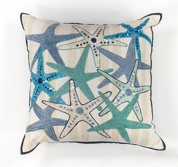 Ivory, Blue (L-110) Beach / Nautical pillow