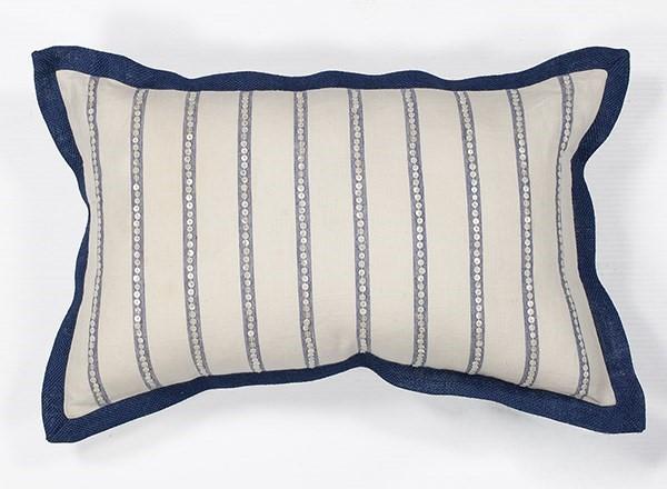 Ivory, Blue (L-167) Beach / Nautical pillow