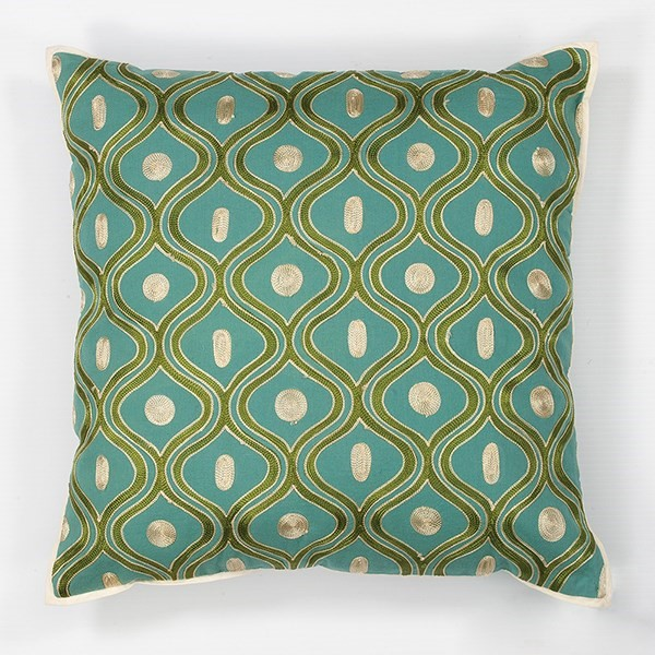 Teal, Gold (L-106) Contemporary / Modern pillow