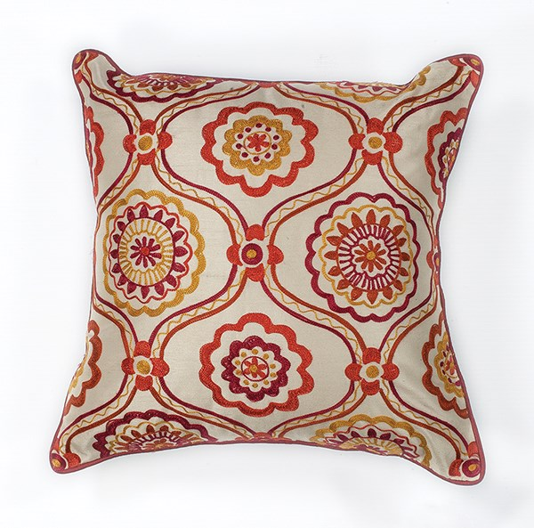 Red, Ivory (L-122) Moroccan pillow