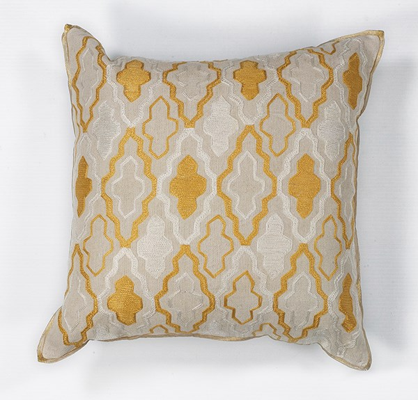 Ivory, Yellow (L-132) Moroccan pillow