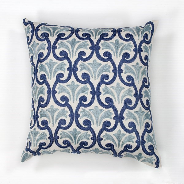 Ivory, Blue (L-108) Moroccan pillow